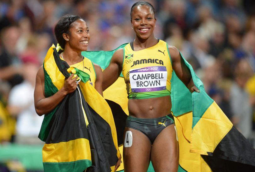 Shelly-Ann Fraser-Pryce z Jamajki wygrała bieg na 100 metrów kobiet, Veronica Campbell-Brown zdobyła brąz (fot. PAP/EPA)