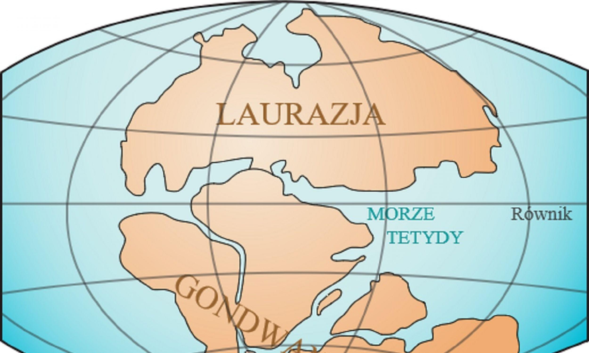 Ziemia w triasie (200 milionów lat temu) z dwoma superkontynentami: Laurosją i Gondwaną, które stopniowo się do siebie zbliżały, aż stworzyły jeden – Pangeę. Fot. Wikimedia Commons/Laurasia-Gondwana.svg: Lenny222derivative work (translation): Masur (talk) - Laurasia-Gondwana.svg, CC BY 3.0