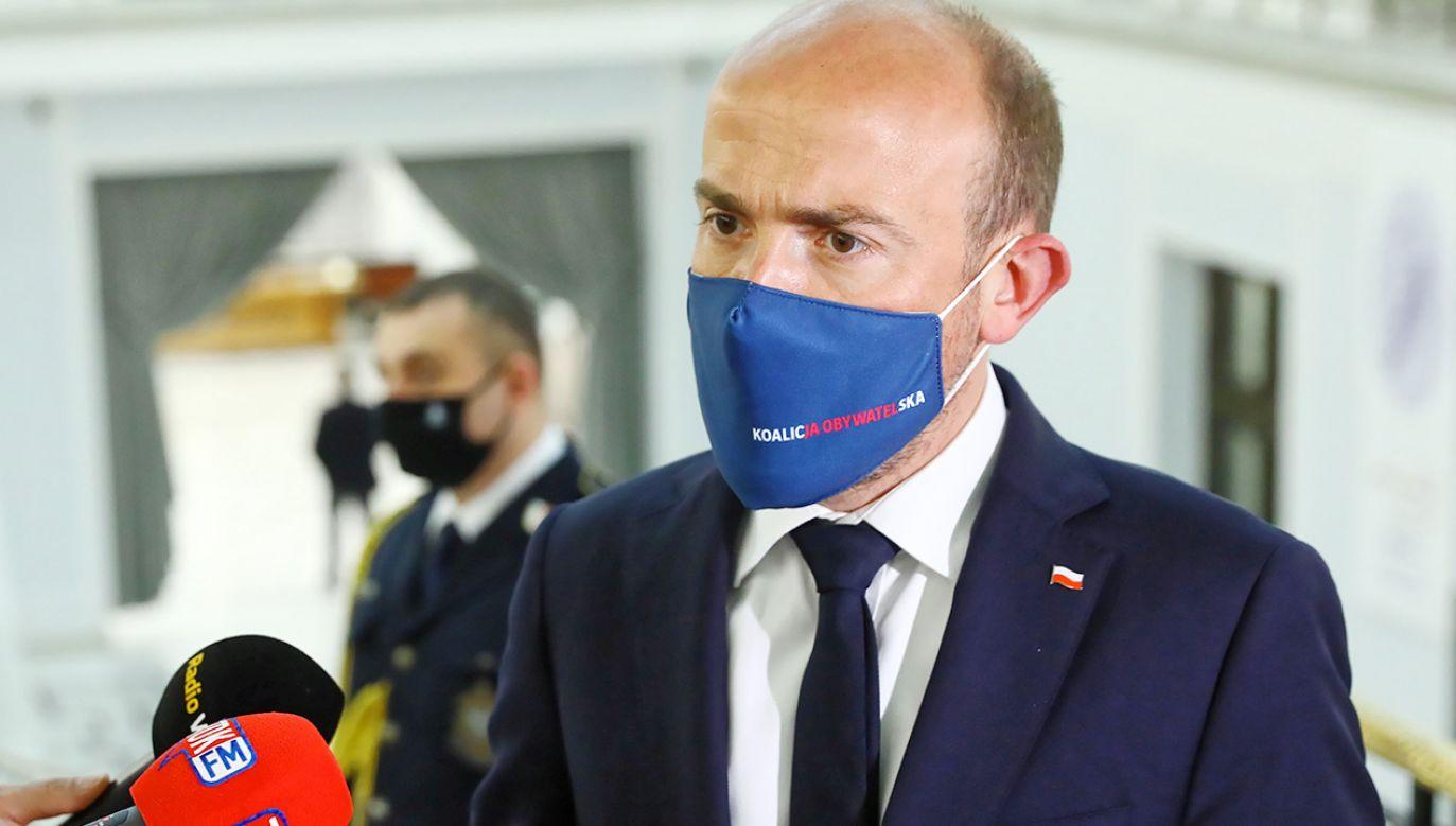 Przewodniczący PO Borys Budka (fot. PAP/Rafał Guz)