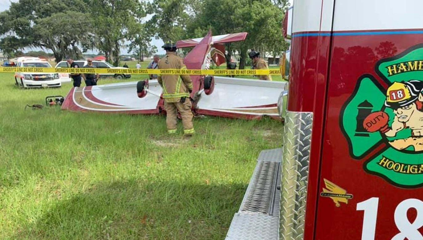 Pilot rozbił się podczas lądowania (fot. Marion County Fire Rescue)
