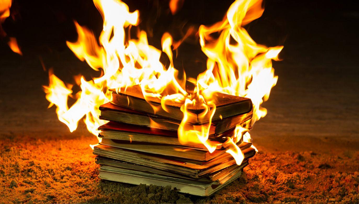 Spalone książki przekazano wcześniej bibliotece nieodpłatnie (fot.  Shutterstock/Videologia)