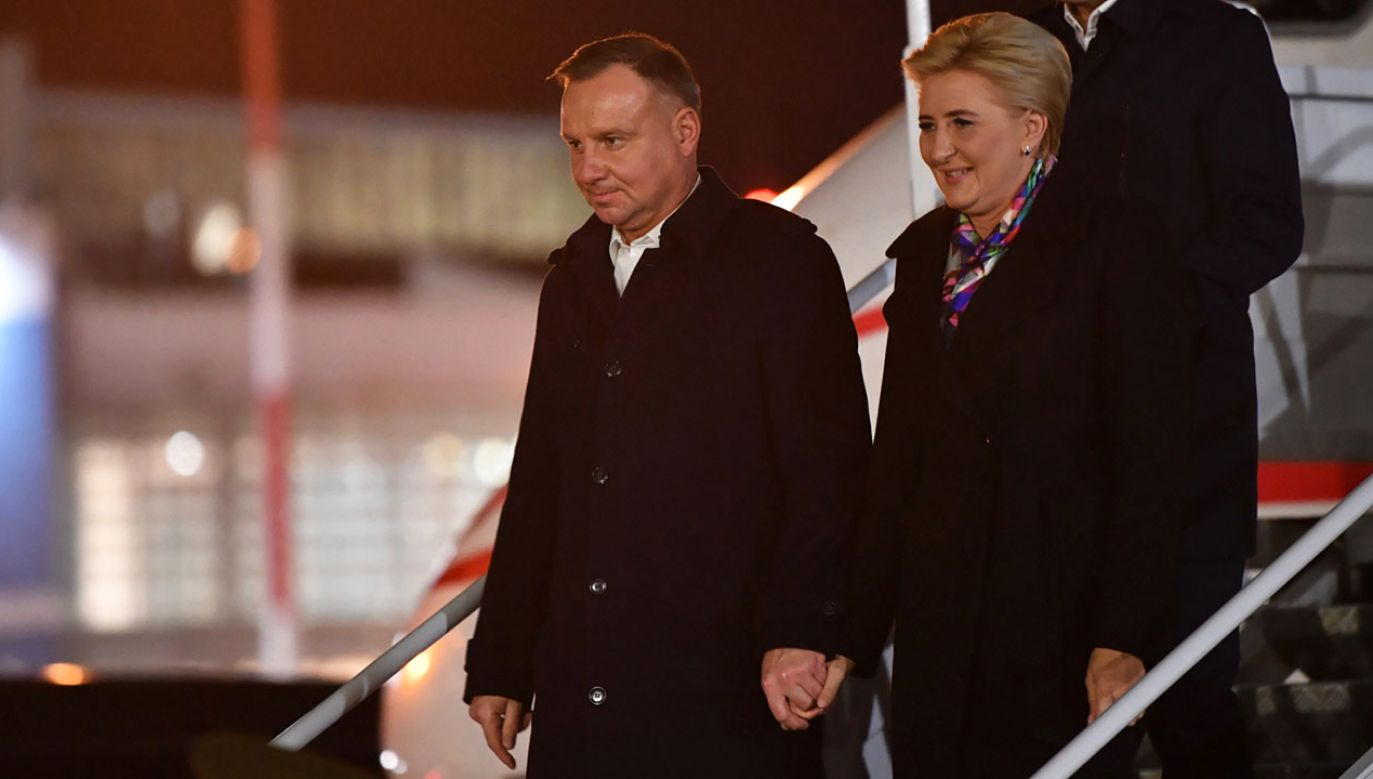 Prezydent Andrzej Duda wraz z małżonką przybyli na Litwę  (fot. PAP/Radek Pietruszka)