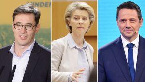 Władze Warszawy i Budapesztu przeciwko wetu w UE (fot. PAP/EPA/Zoltan Balogh; /EPA/OLIVIER HOSLET / POOL; Radek Pietruszka)