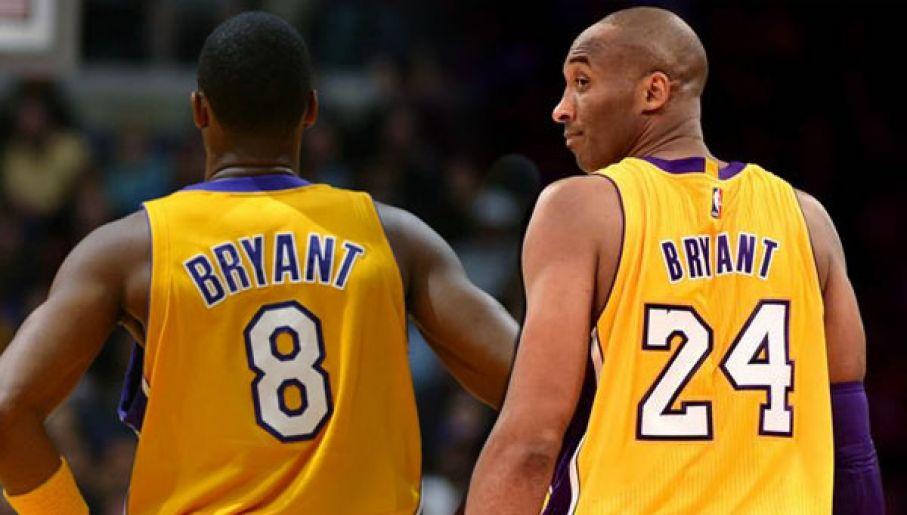 """Pierwsze lata kariery Kobe spędził z """"8"""" na plecach. Potem zmienił ją na """"24"""" (fot. Getty)"""