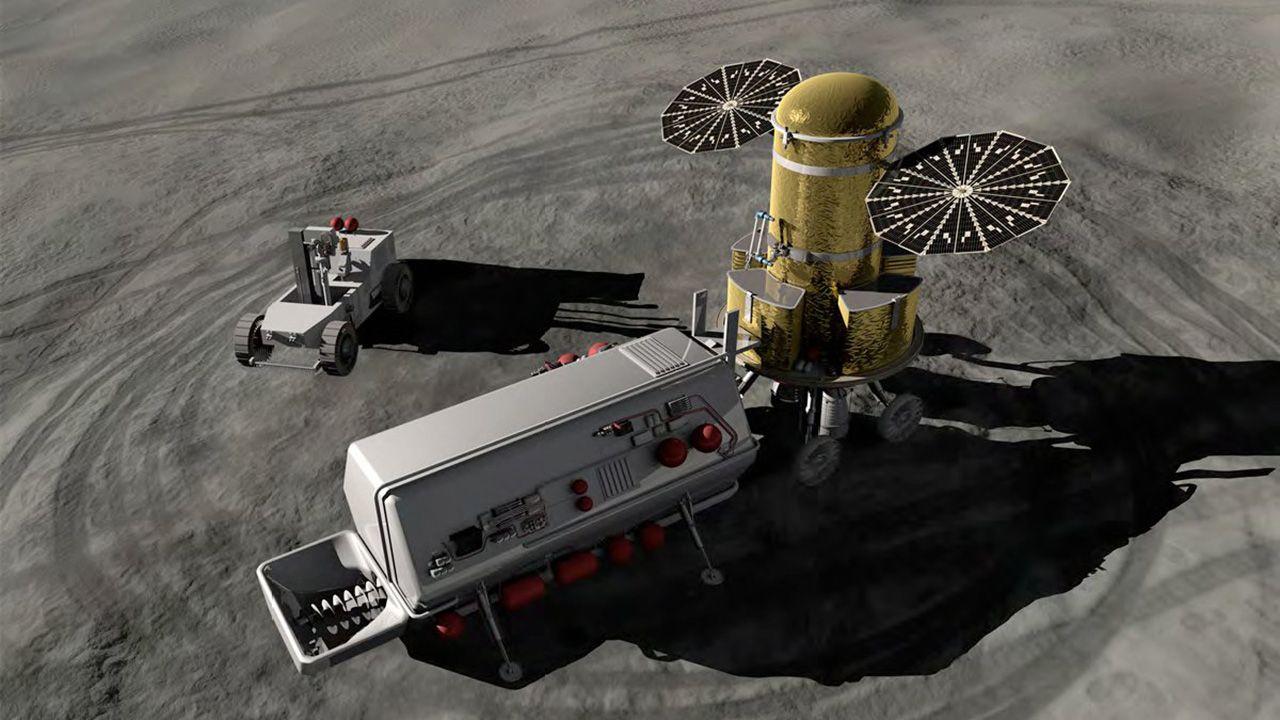 Mała koparka księżycowa będzie pozyskiwała pył księżycowy (fot. commons.wikimedia.org)