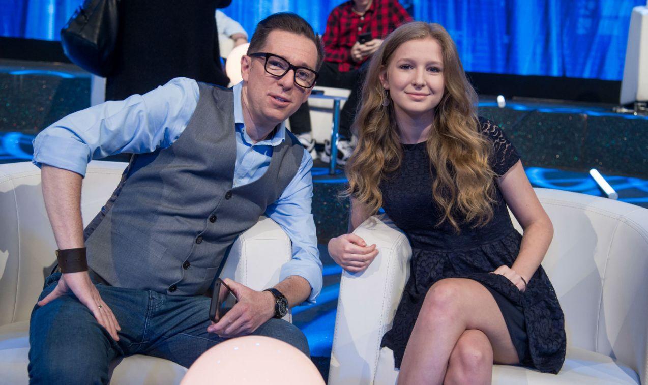 Najlepsi spośród uczestników w studio byli dziennikarz sportowy Maciej Jabłoński i jego córka POla (fot. Jan Bogacz/TVP)