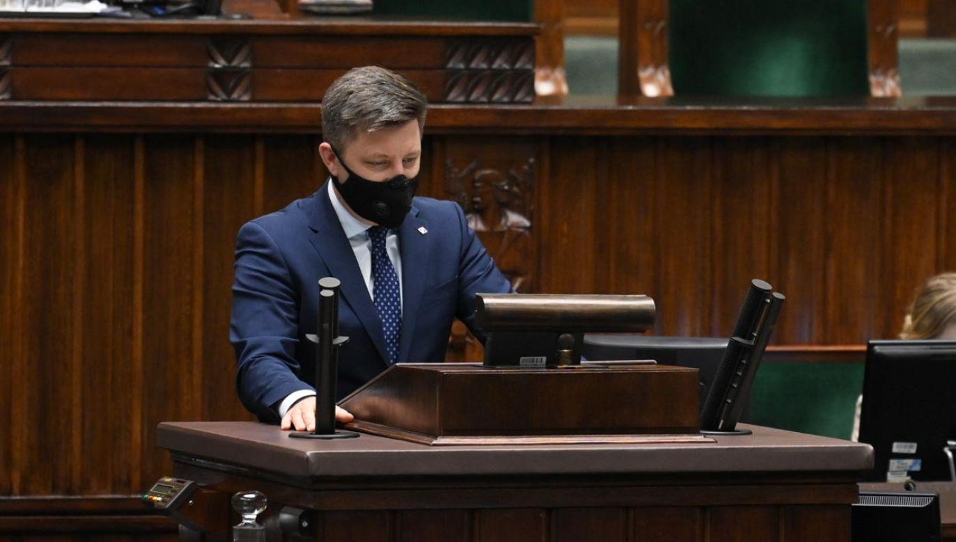 Minister Dworczyk zabrał głos w Sejmie (fot. Twitter/SejmRP)