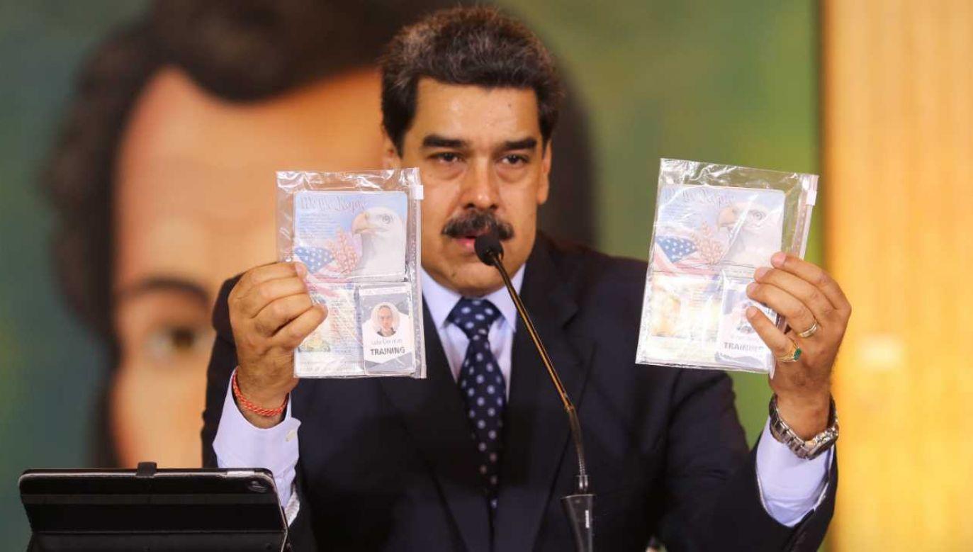Prezydent Wenezueli Nicolas Maduro oskarżył USA o przeprowadzenie próby puczu (fot. PAP/EPA/Miraflores press HANDOUT)
