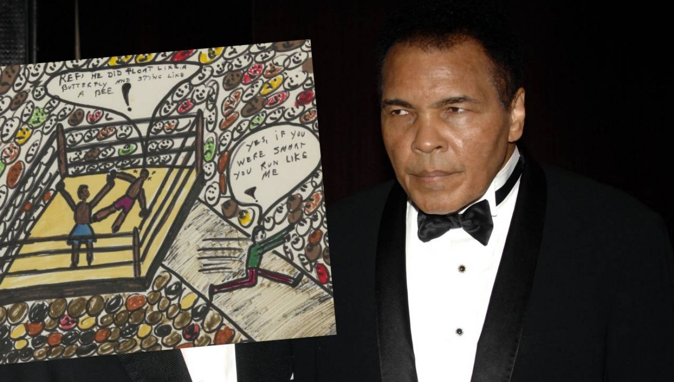 "Muhammad Ali narysował ""Sting like a bee"" w 1978 roku (fot. Brad Barket/Getty Images/Bonhams/mat.pras.)"