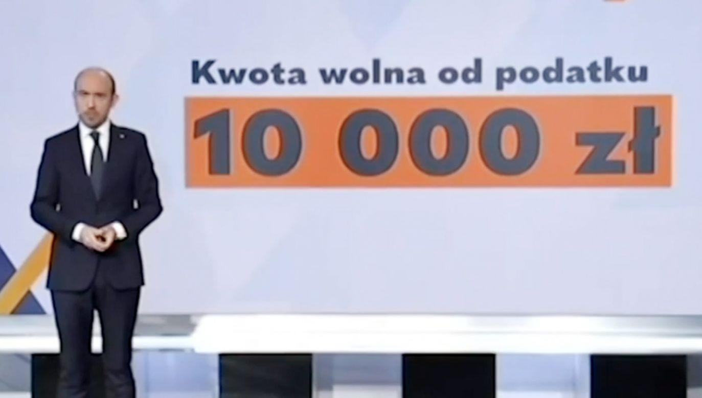 Przewodniczący PO Borys Budka obiecuje podwyższenie kwoty wolnej od podatku (fot.TVP Info)