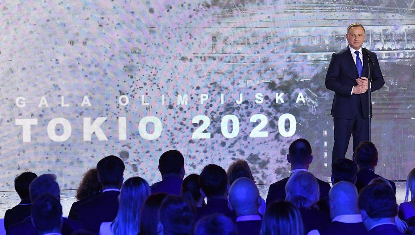 Prezydent przypomniał, że w Tokio nasi olimpijczycy osiągnęli najlepszy wynik w XXI w. (fot. PAP/Piotr Nowak)