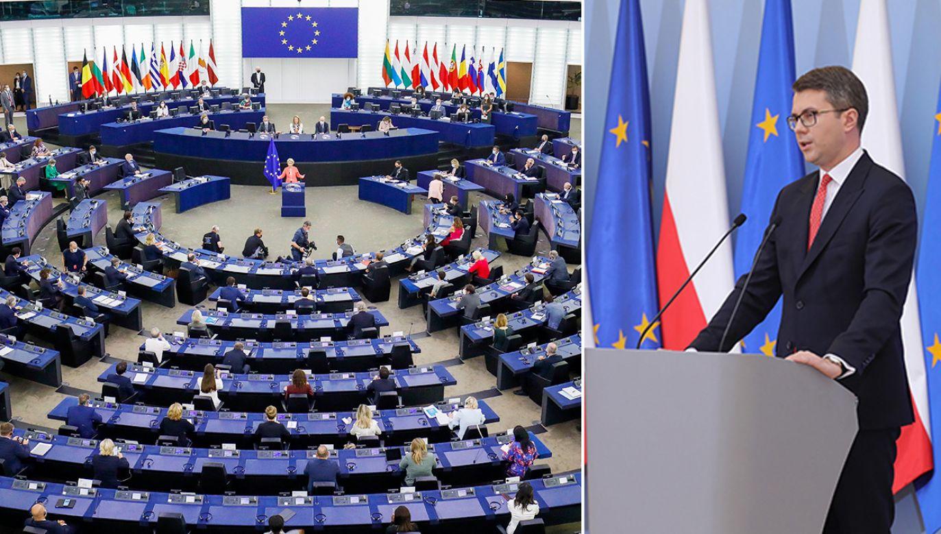 Rzecznik rządu o rezolucji PE (fot. PAP/EPA/JULIEN WARNAND; PAP/Paweł Supernak)