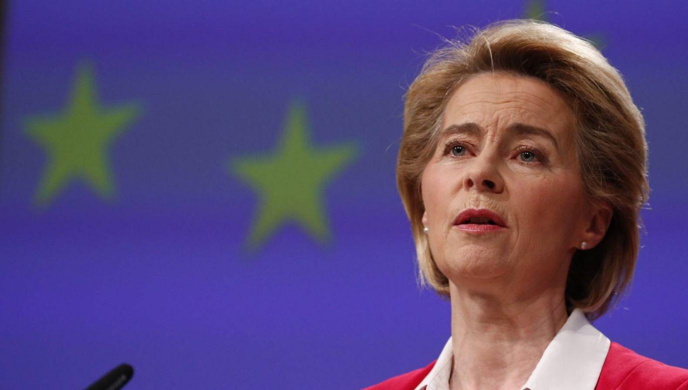 Ursula von der Leyen.podkreśla, że kluczem do uzdrowienia Europy jest solidarność  (fot. PAP/EPA/FRANCOIS LENOIR)