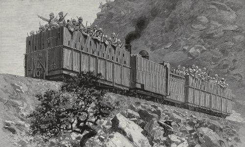 Grupa brytyjskich żołnierzy w pociągu pancernym jedzie na patrol podczas wojny w Transwalu (obecna Republika Południowej Afryki), znanej również jako Druga Wojna Burska (1899-1902). Imperium toczyło ją z burskimi republikami Transwalu i Oranii, założonymi w czasie holenderskiej kolonizacji, w wyniku czego państewka te upadły i zostały wcielone do kolonii Zjednoczonego Królestwa. Ilustracja z magazynu L'Illustration nr 2964, 16 grudnia 1899. Fot. Getty Images
