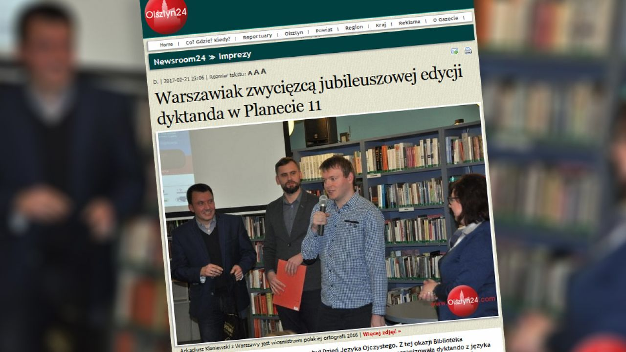 Arkadiusz Kleniewski został laureatem olsztyńskiego dyktanda (fot.olsztyn24.pl)