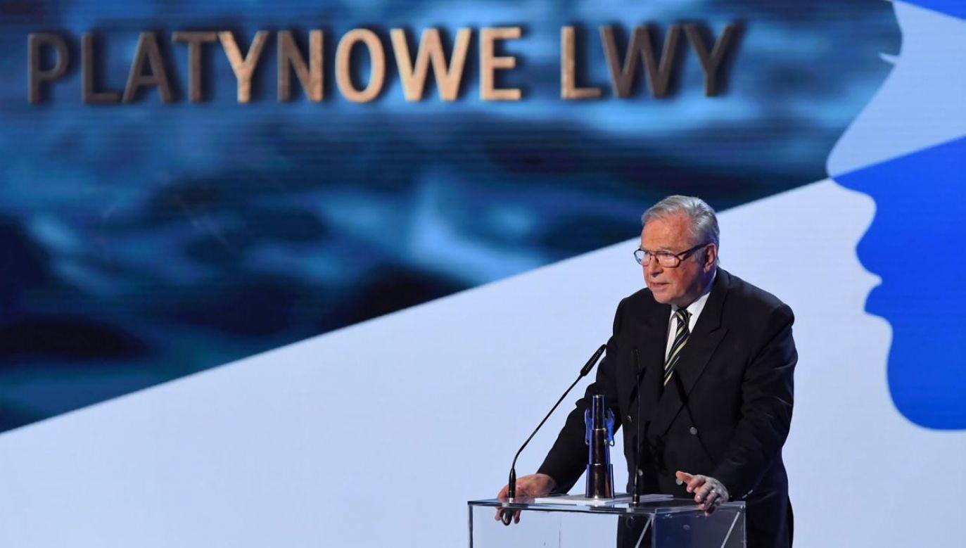 Krzysztof Zanussi został uhonorowany za całokształt twórczośc, statuetką Platynowe Lwy (fot. PAP/Adam Warżawa)