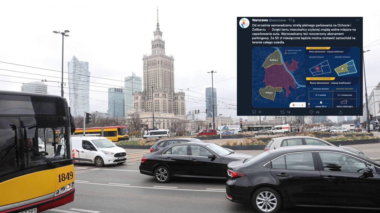 Strefa Płatnego Parkowania w Warszawie coraz większa (fot. PAP/Tomasz Gzell, twitter.com/warszawa)