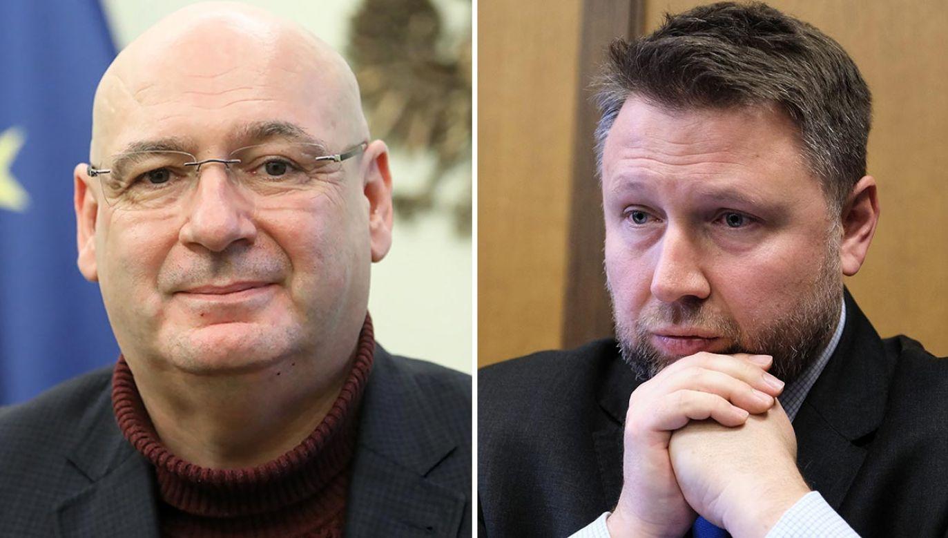 Marcin Kierwiński (z prawej) odpowiada Piotrowi Zgorzelskiemu (fot. PAP/Wojciech Olkuśnik, Mateusz Marek)
