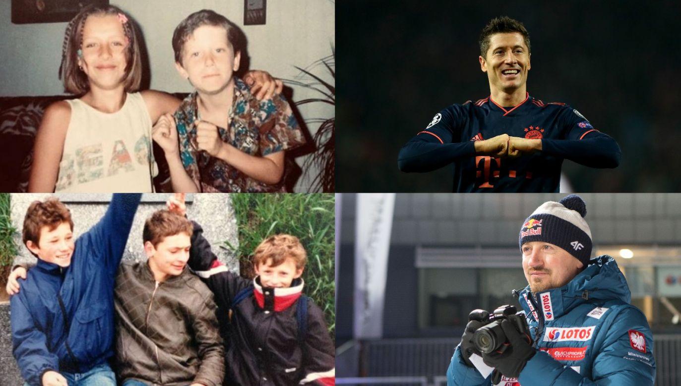 Robert Lewandowski i Adam Małysz – w dzieciństwie i teraz (fot.Instagram/FB/Getty)