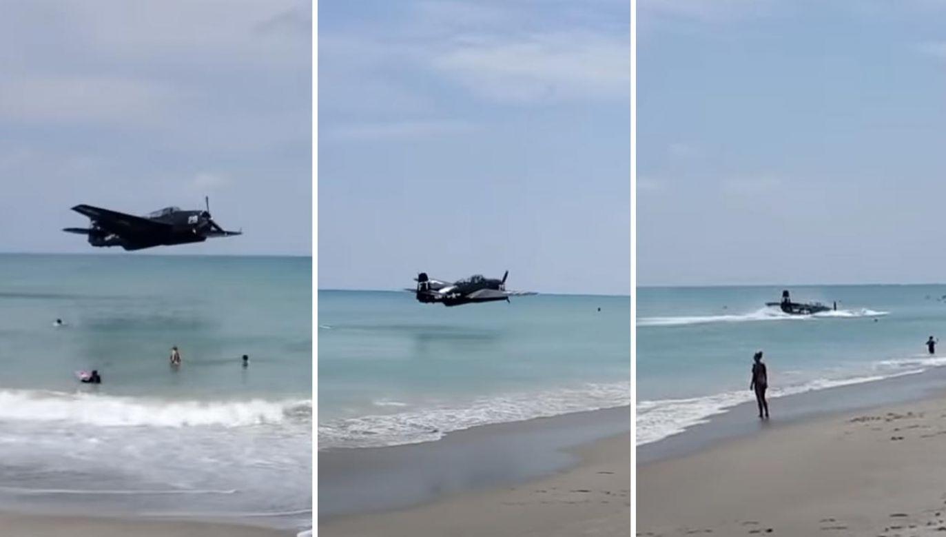 Wojskowy samolot rozbił się w oceanie blisko kąpiących się ludzi (fot. YouTube/WESH 2 News)