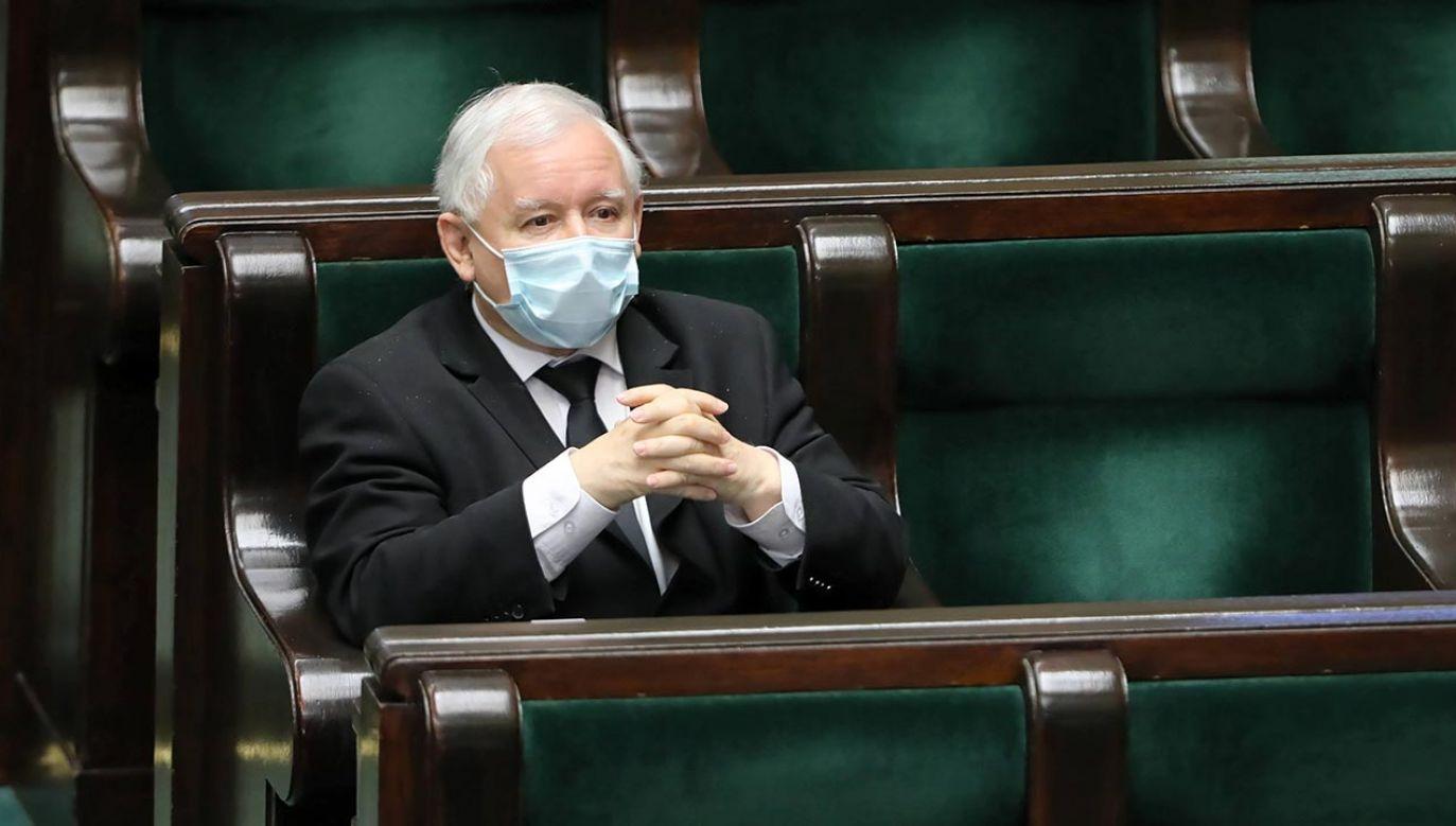 Partia Jarosława Kaczyńskiego zanotowała wzrost poparcia (fot. PAP/Wojciech Olkuśnik)