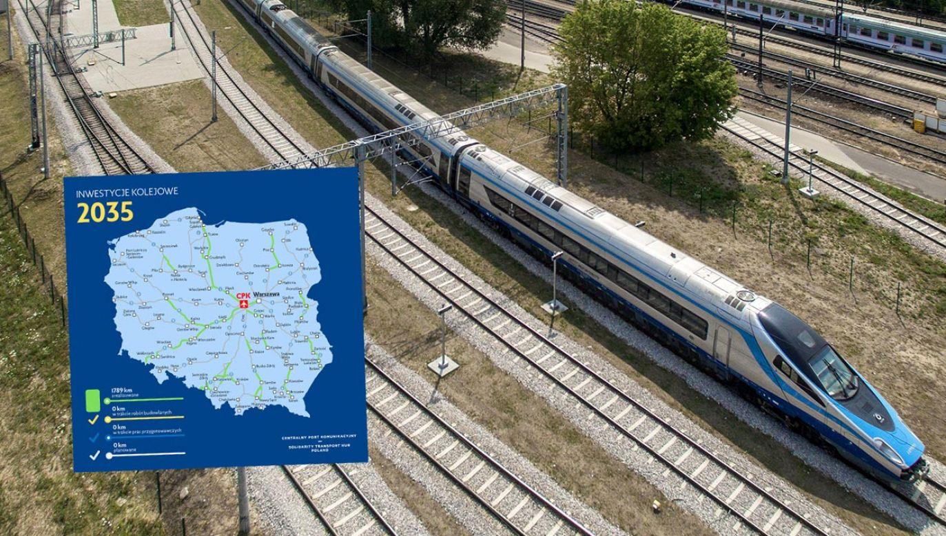 Łącznie powstanie 1789 km nowych linii, które łącznie z istniejącymi trasami zapewnią komunikację CPK z całą Polską (fot. PAP/Dariusz Radzimierski)