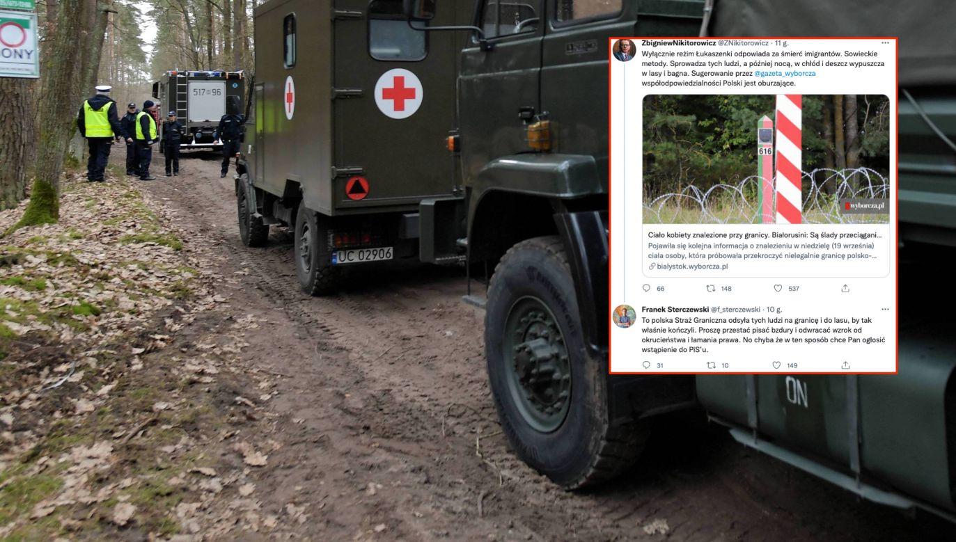 Białoruś dowozi na granicę z Polską tysiące nielegalnych imigrantów (fot. PAP/Przemysław Piątkowski, twitter.com/f_sterczewski)