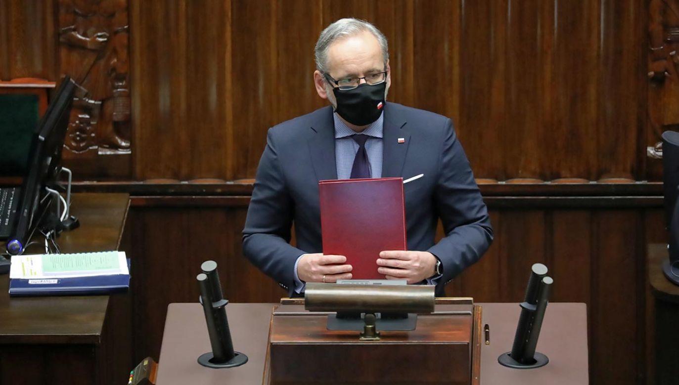 Minister zdrowia zabrał głos w Sejmie (fot. PAP/Tomasz Gzell)