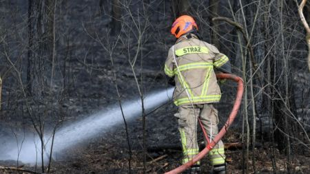Strażacy dogaszają pożar (fot. PAP/Piotr Nowak)