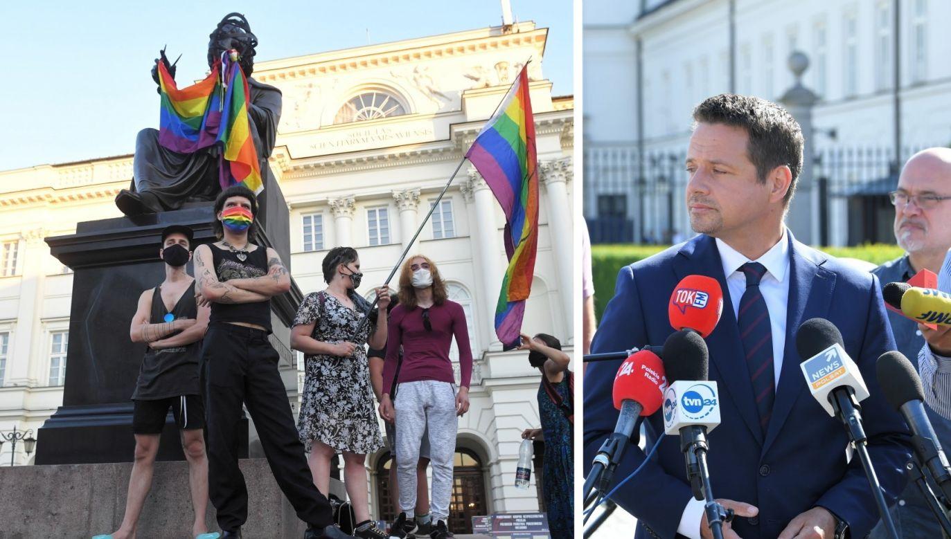 Prezydent Warszawy zestawia zatrzymanie działaczy LGBT z brutalną pacyfikacją protestów w Mińsku (fot. PAP/Radek Pietruszka)