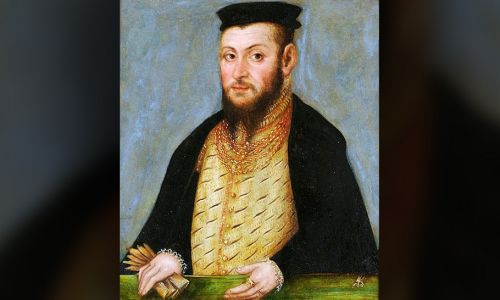 Miniatura Zygmunta II Augusta, 1553, Lucas Cranach Młodszy (fot. Wikipedia/BurgererSF)