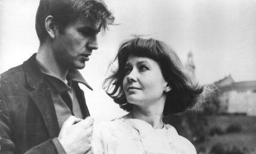 1966 r. Aktorzy Elżbieta Czyżewska i Janusz Guttner w filmie