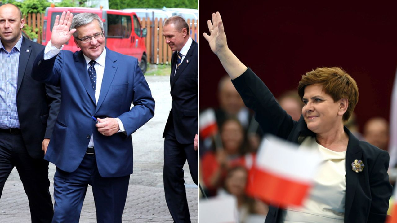 Prezydent Komorowski; Beata Szydło (fot. PAP/Andrzej Grygiel; PAP/Grzegorz Michałowski)