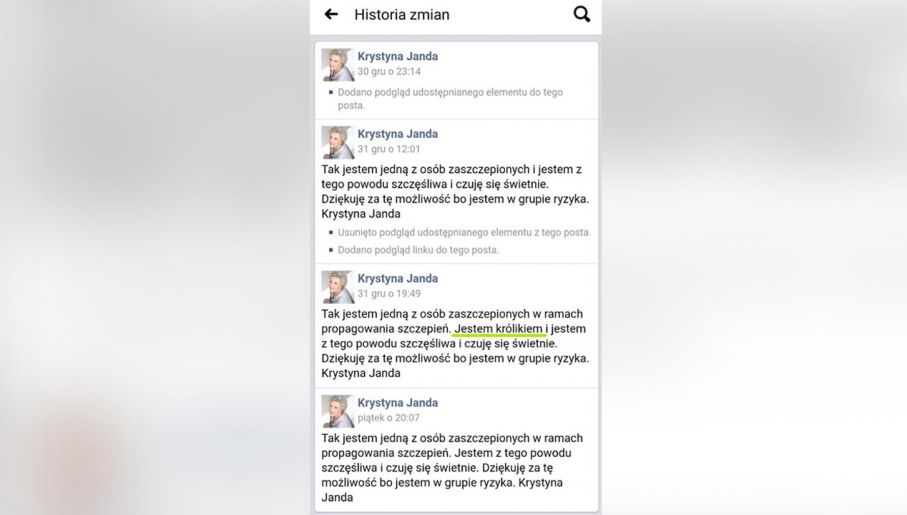 Screen shot historii wpisu na stronie FB Krystyny Jandy