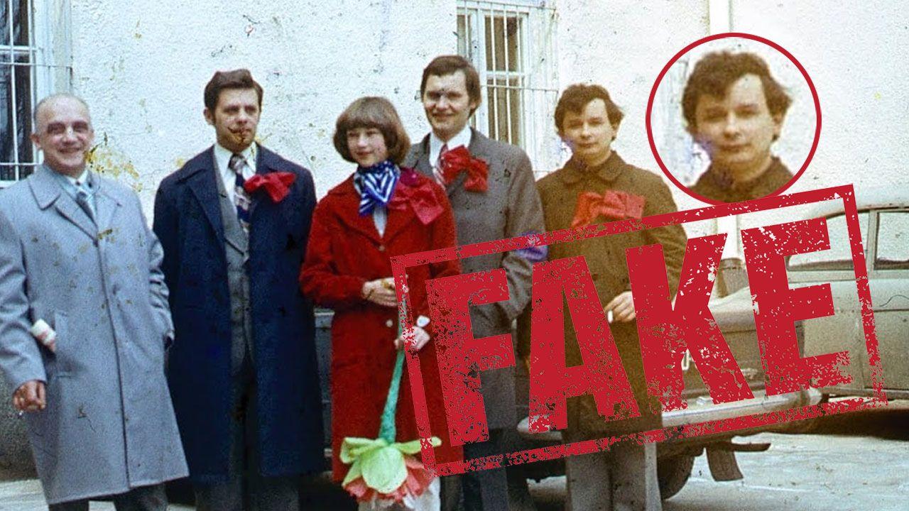 Jarosław Kaczyński nie zna ani jednej osoby z tej fotografii. Jego zdaniem, to fotomontaż (fot. FB/Marek Skwarski/ portal tvp.info)