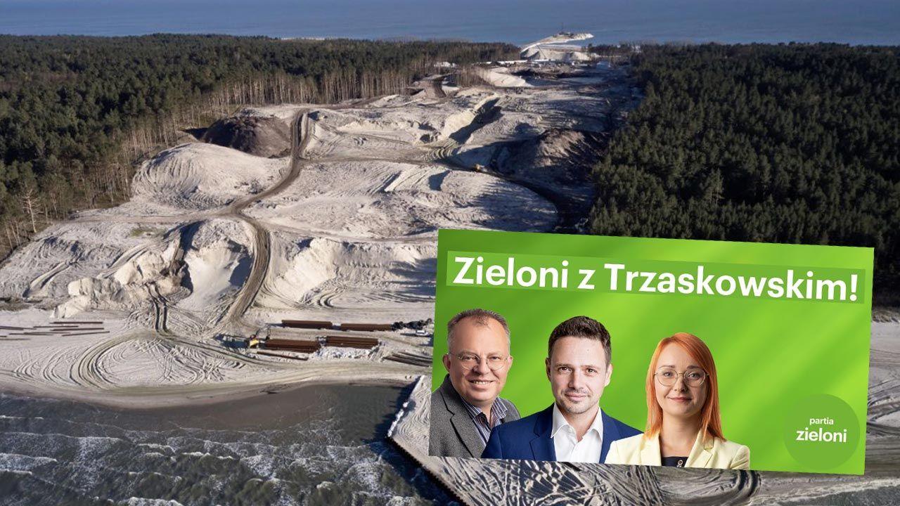 """Zieloni i Rafał Trzaskowski mówią """"nie"""" dla przekopu (fot. Shutterstock/Curioso; partiazieloni.pl)"""