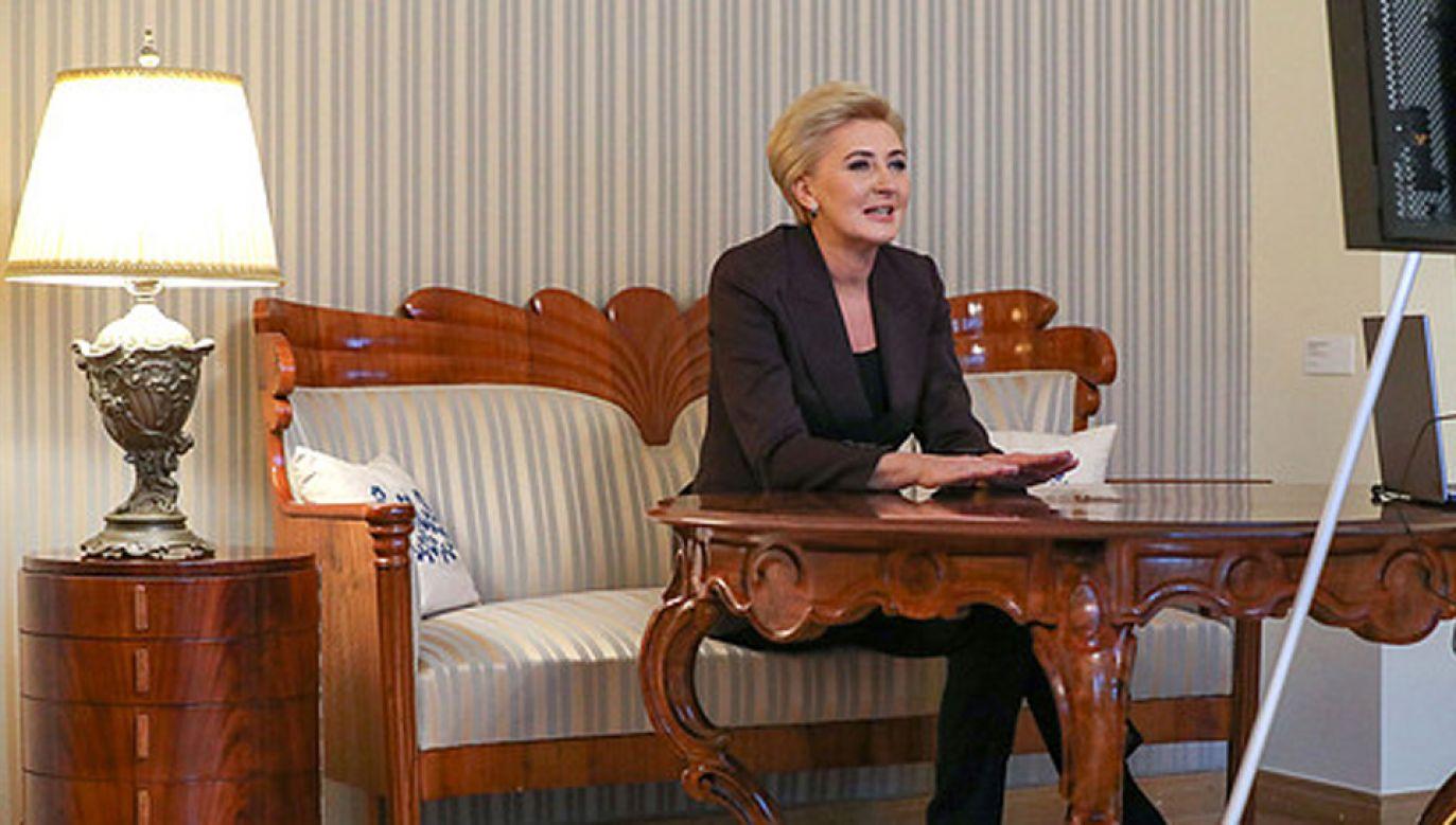 Pierwsza dama rozmawiała z Głównym Inspektorem Transportu Drogowego (fot. KPRP/Grzegorz Jakubowski)