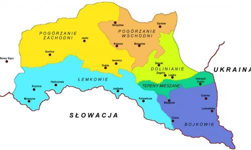 Mapa pokazująca tereny zamieszkania grup karpackich górali na terenie Polski. Fot. Wikimedia/Wilhelm Klave
