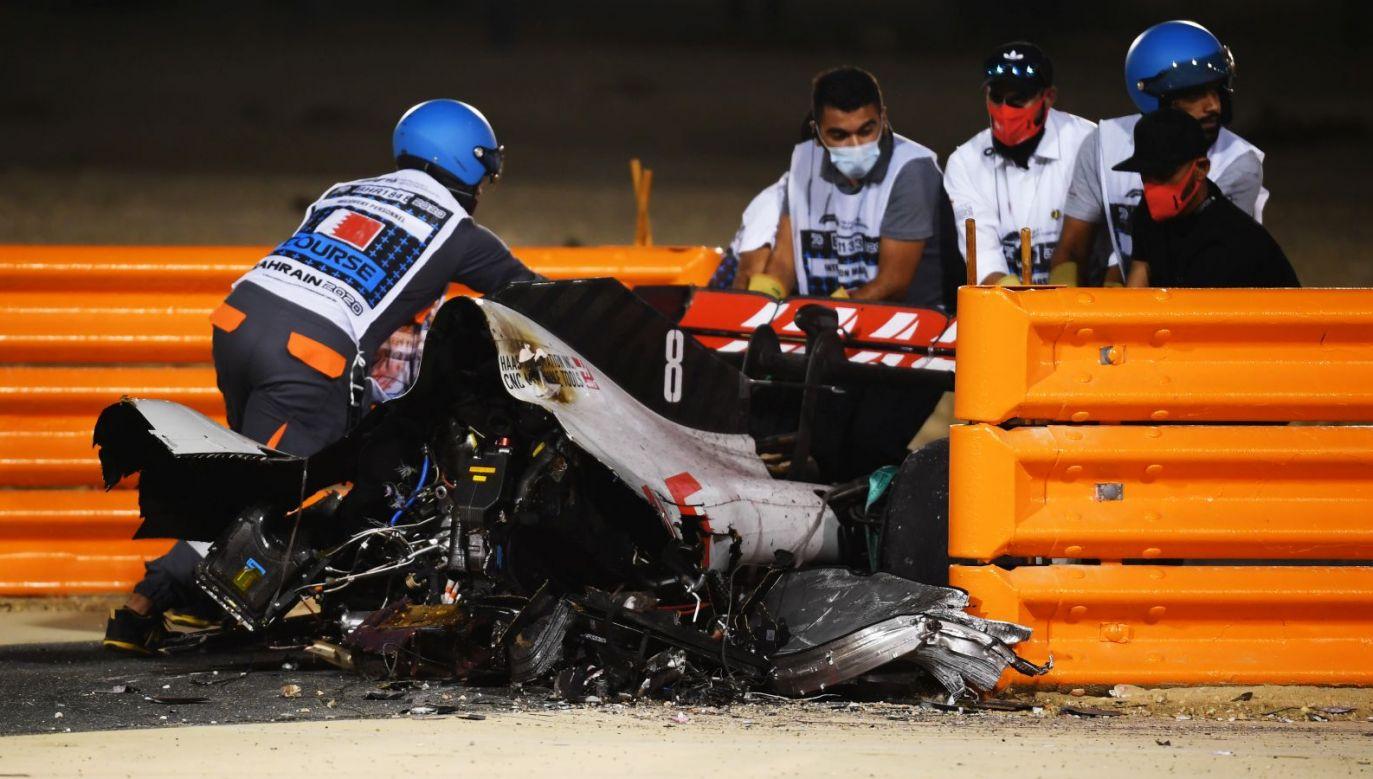 Rozbity bolid Romaina Grosjeana (fot. Getty)