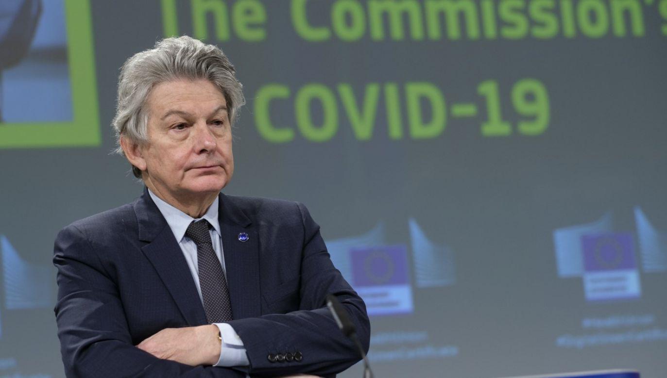 Unijny komisarz ds. rynku wewnętrznego Thierry Breton (fot. Thierry Monasse/Getty Images)