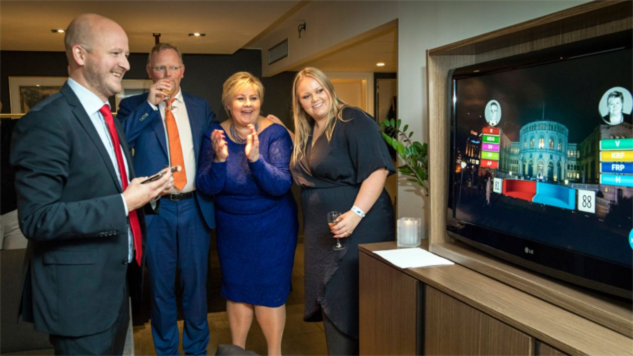 Premier Erna Solberg (druga z prawej) najpewniej utrzyma stanowisko (fot. PAP/EPA/HANS KRISTIAN THORBJORNSEN)