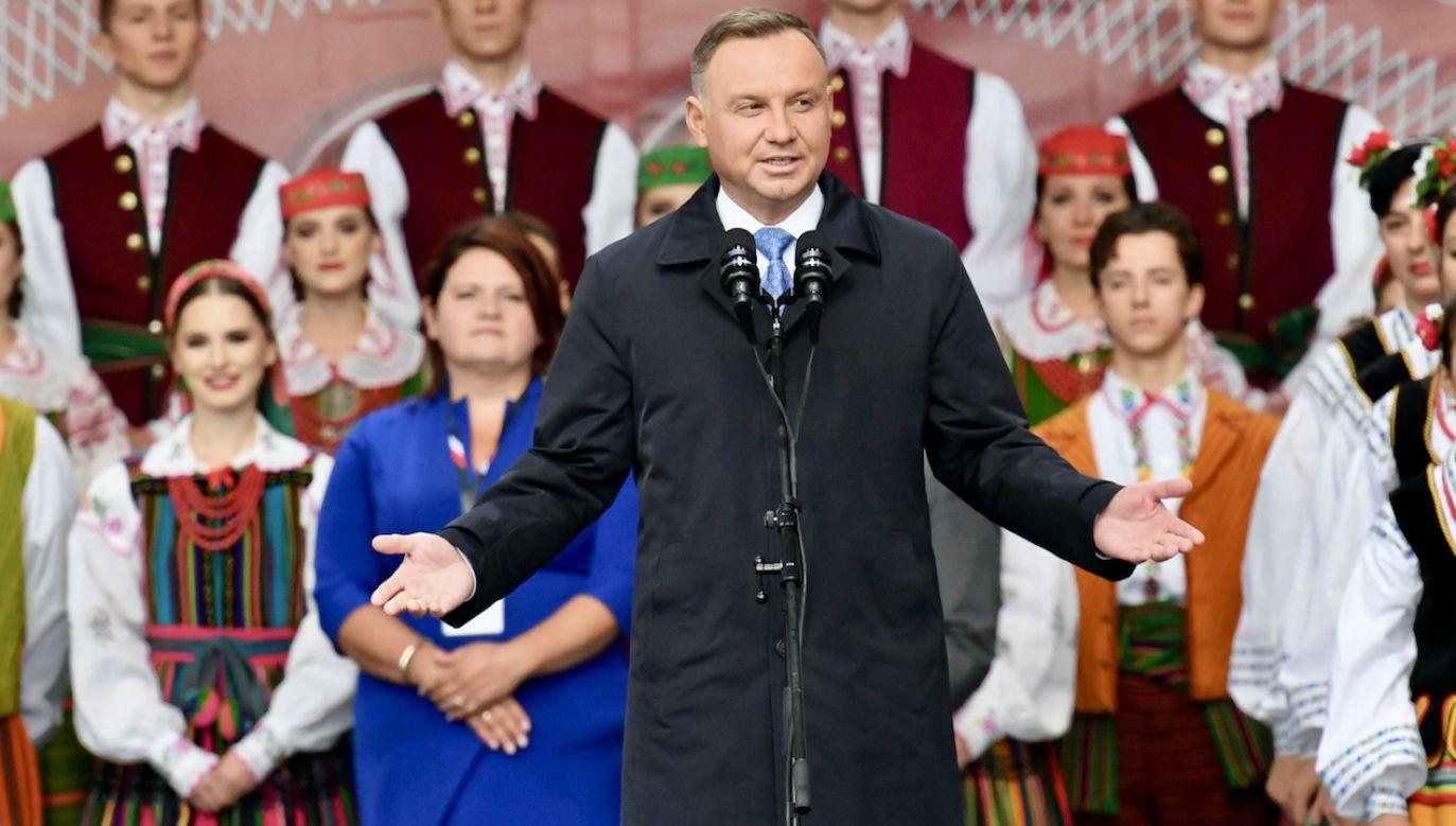 Andrzej Duda podczas dożynek prezydenckich (fot. PAP/Piotr Nowak)