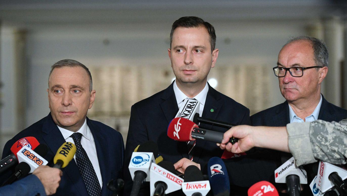 Liderzy opozycji zaproponowali kandydatów na marszałka i wicemarszałków izby (fot.PAP/Radek Pietruszka)