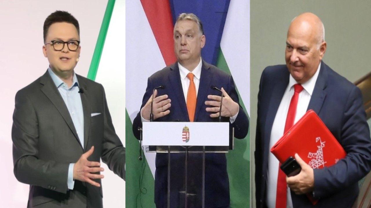 Szymon Hołownia, Viktor Orban i Tadeusz Kościński (fot. arch. PAP/Leszek Szymański / arch. PAP/EPA/SZILARD KOSZTICSAK)