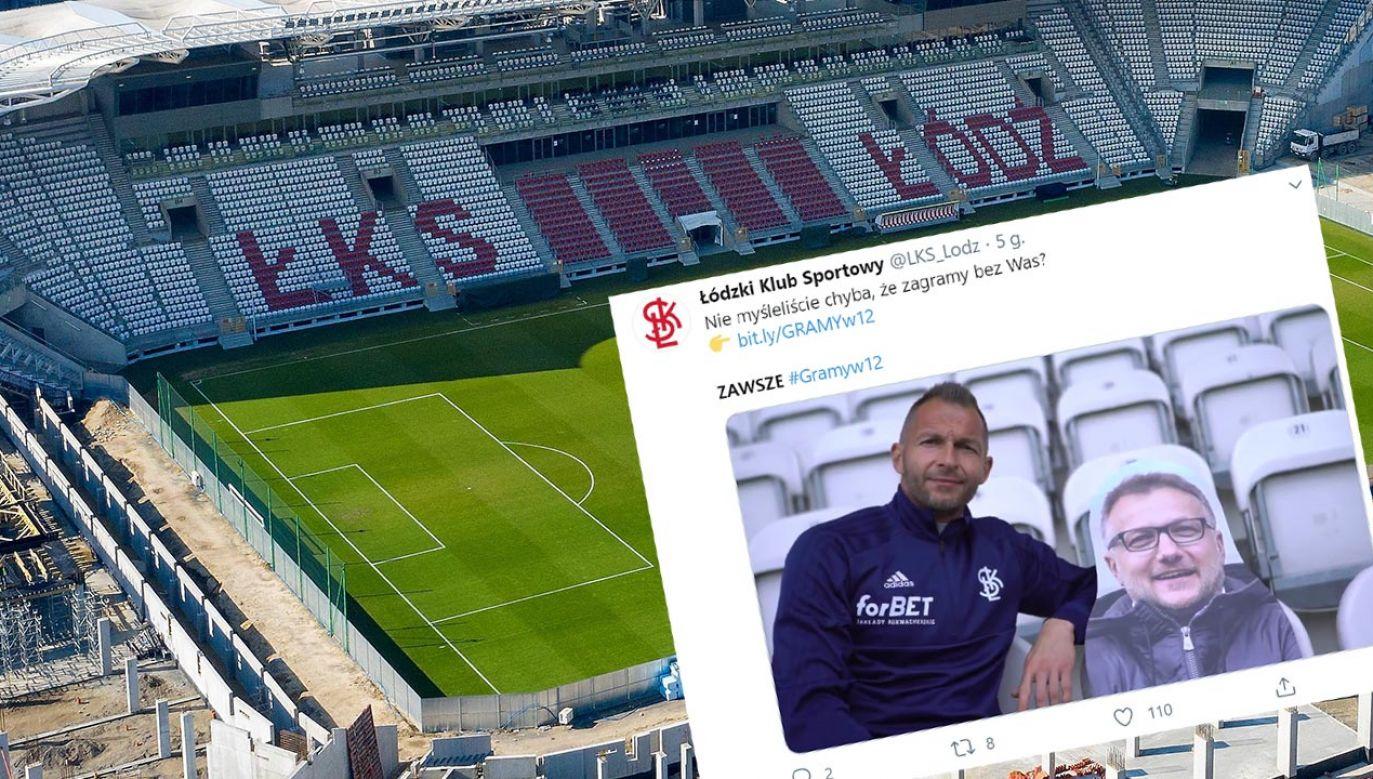 Aby zdjęcie kibica trafiło na trybuny, należy za to zapłacić (fot.  PAP/Grzegorz Michałowski; Twitter/ ŁKS Łódź)