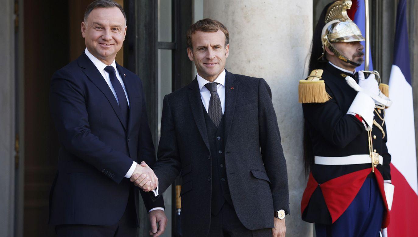 Andrzej Duda i Emmanuel Macron (fot. PAP/EPA/YOAN VALAT)