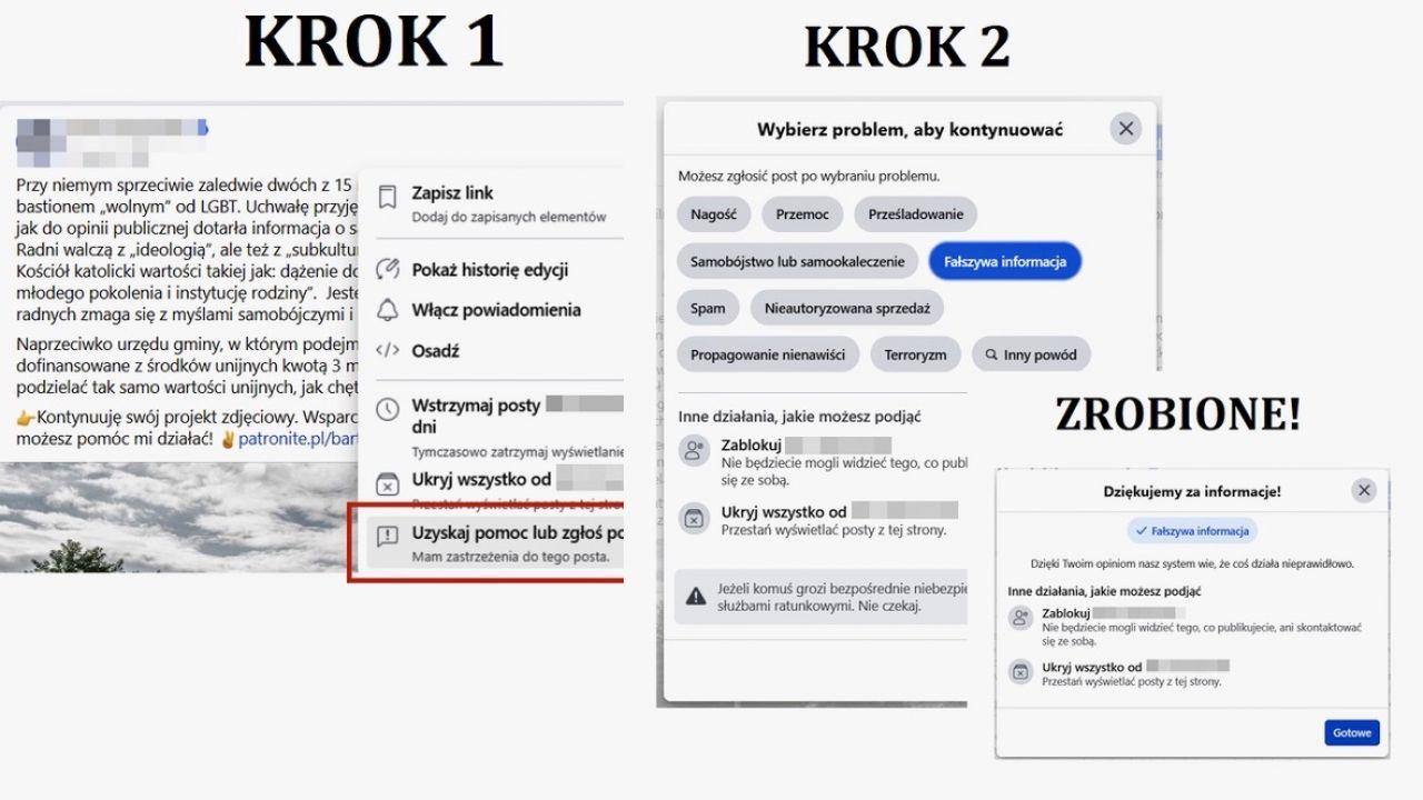 Zamieszczamy krótką instrukcję, jak utrudnić rozpowszechnianie kłamstw (fot. screen FB)