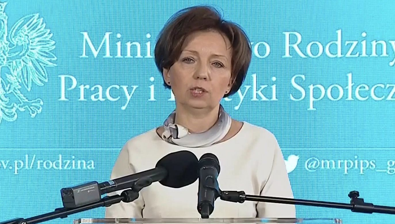 Marlena Maląg zwróciła uwagę, że potrzeba, aby pożyczki umarzalne w kwocie 5 tys. zł znalazły się na kontach małych przedsiębiorców (fot. TVP Info)