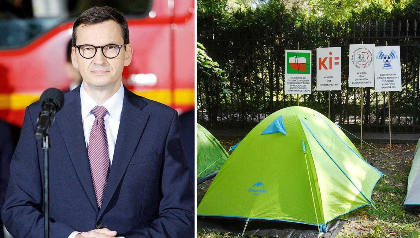 """Premier Mateusz Morawiecki postulaty protestujących ocenił jako """"zaporowe"""" (fot. PAP/Art Service 2, Radek Pietruszka)"""