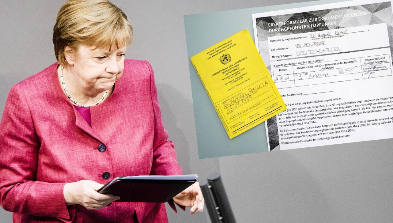 Angela Merkel już ze świadectwem szczepienia po pierwszej dawce AstraZeneki (fot. PAP/EPA/CLEMENS BILAN; TT)